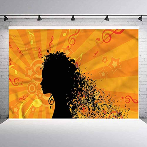 5x5FT Vinyl Photo Backdrops,Music,Silhouette of Woman and Notes Photoshoot Props Photo Background Studio Prop