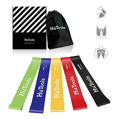 HuTools Widerstandsbänder/Fitnessbänder Set 5 Tragebeutel Gymnastikband Für Beine und Gesäß, Muskelaufbau, Yoga, Gymnastik usw.