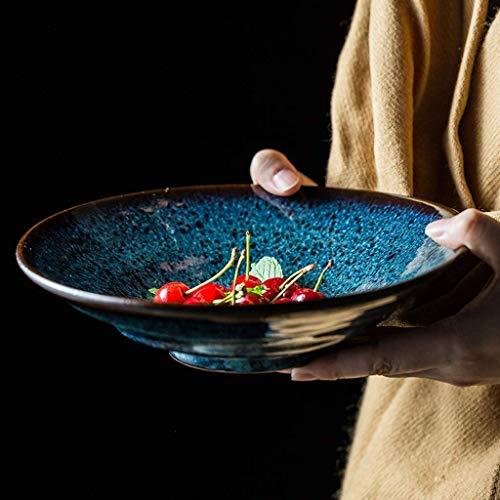 DJY-JY Cuenco de cerámica para el hogar vajilla creativa retro azul ramen tazón de sopa tazón de fuente de sopa de 9 pulgadas ensalada de frutas tazón