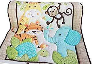 WINLIFE Crib Bedding Set for Girls & Boys Crib Quilts 33''x42'' Baby Quit (Zoo)