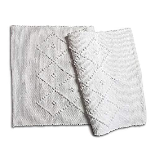 Craft Story Web-Teppich Pedro I Bad-Teppich I traditionell gewebt I Badematte I Bad-Vorleger Uni weiß I Bad-Läufer I handwerkliche Herstellung in Portugal I Hygge I ca. 50 x 100 cm