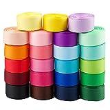 BETESSIN 46m Cintas Grosgrain de 23 Color Cintas Decorativas 16mm Cintas Ribbon Tela para Costura Manualidad Regalos Cumpleaños Boda Fiesta Embalaje Regalos