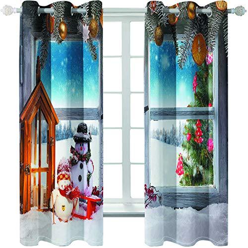 MMHJS Cortinas De Impresión De Poliéster Grueso De Estilo Europeo Cortinas De La Serie De Navidad 3D Persianas Verticales para Sombrear El Balcón del Dormitorio Y La Sala De Estar (2 Piezas)