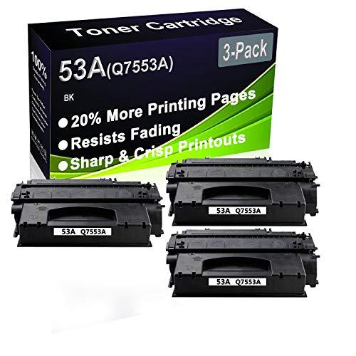 Paquete de 3 cartuchos de impresora láser de alta capacidad para HP 53A (Q7553A) (compatible con LaserJet M2727NF M2727NFS P2014 P2015N, color negro