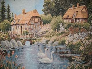 DaDa Bedding Cottage Vintage Tapestry - Swan Lakeside Nature Country Village Wall Hanging