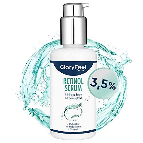Retinol Serum Hochdosiert (3,5{67efb27b9e9f2640265c6c46abbf65253da2d8b3140b2b1c00085cd9aafcaa4c}) - 100ml 3-fach Pflegekomplex mit Vitamin C und Hyaluronsäure - Anti-Aging für Gesicht & Haut - Dermatologisch getestet hergestellt in Deutschland