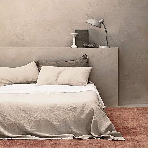 BISELINA Bettlaken aus französischem Flachs, 55 % Euro-Leinen, 45 % Baumwolle, grundlegend, einfarbig, weich, atmungsaktiv, Bauernhaus-Bettlaken (King-Size-Bett), Leinen