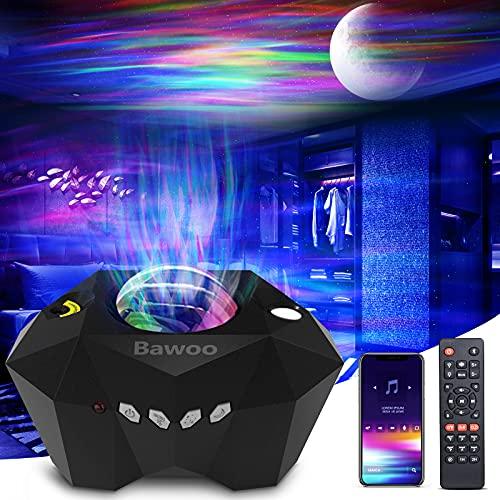 Bawoo Proyector Estrellas, Proyector Galaxia con Altavoz Bluetooth Control Remoto, Múltiples Modos de Luz Proyector Infantil Decoración para Dormitorio/Fiestas, Regalo para Niños/Amigos