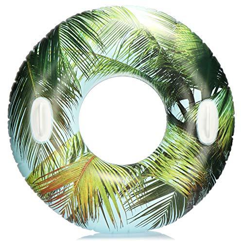 com-four® Schwimmreifen mit Palmen Motiv - Schwimmring für Badespaß - Wasserring aufblasbar für Kinder und Jugendliche (01 Stück - Palmblatt)