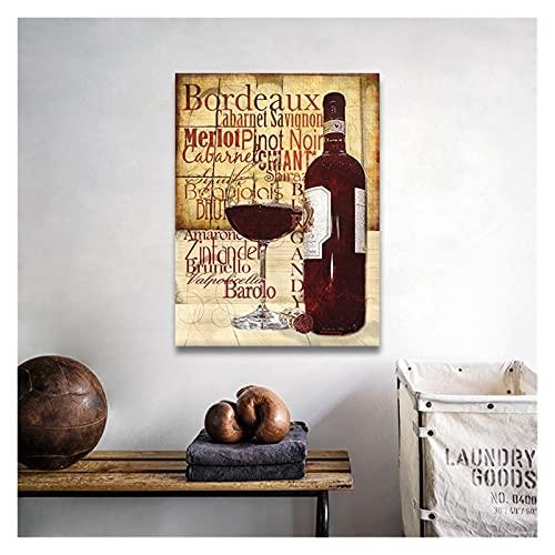 CBYLDDD Copas de Vino Rojo Modernas Costa de la Botella Pintura Vintage Pósters e Impresiones Arte de la Pared Foto para la Sala de Estar Decoración del hogar 20x28 Sin Marco