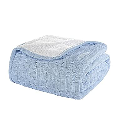 Comforbed Luxury Cable Sweater Knitting Throw Blanket Quilt Throw with Sherpa Lining Sky Blue 51x63 Inch