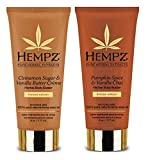 Hempz Body Butter 2 Pack - 6 ounces each bottle (1) Cinammon Sugar & Vanilla Butter Crème Body Butter (6 ounces) (1) Hempz Pumpkin Spice & Vanilla Chai Body Butter (6 ounces) THC free, Parben Free, Gluten Free Enriched with 100% Pure Natural Hemp See...