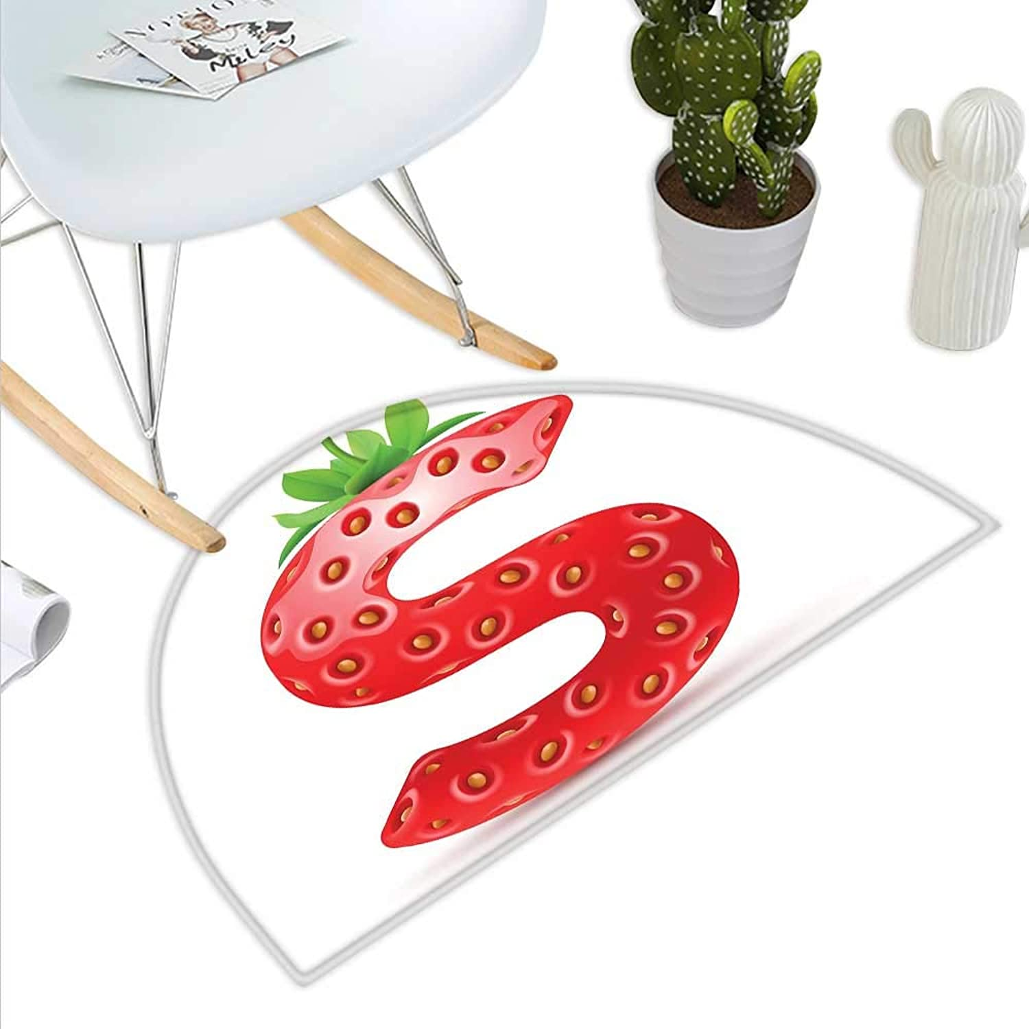 Letter S Semicircle Doormat Capital S Strawberry Seeds and Green Leaves Organic Plant Realistic Halfmoon doormats H 43.3  xD 64.9  Vermilion Green orange