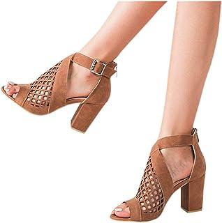 Padaleks Sandals for Women Summer Ankle Strap Chunky High Heels Shoes Hollow Zipper Ladies Peep Toe Pumps Sandal