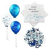 32 Stück Servietten Fisch Blau Türkis +60 Stücke Holz Fische Deko+18 Luftballons , Taufdeko Junge, Servietten für Junge Konfirmation Kommunion Taufe Tischdeko, Servietten Taufdeko Tisch Deko (Blau)