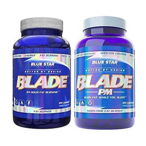 男性刀片脂肪燃烧+刀片PM由蓝星营养品:24小时燃烧脂肪,促进新陈代谢,支持减肥,抑制食欲,改善睡眠质量,每120粒减肥药