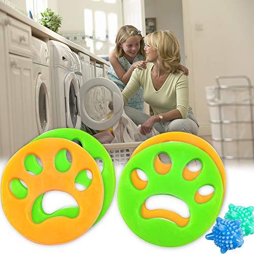 MIKKUPPA 4X Haustier Haarentferner und 2X Wäscherei Bälle - für Waschmaschine Haarfänger Haarentfernung, Tierhaarentferner für Hundehaar, Katzenfell, alle Haustiere