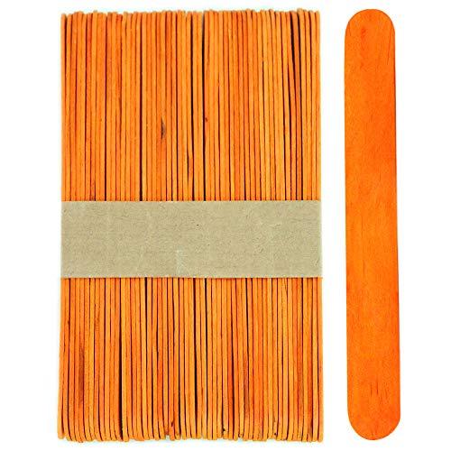 100 Sticks - Jumbo Wood Craft Popsicle Sticks 6 Inch (Orange)