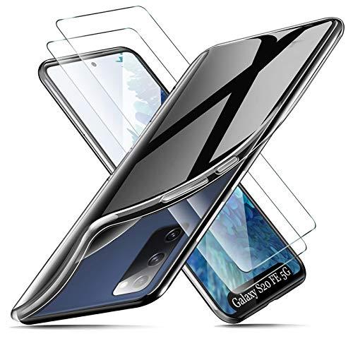 cookaR Funda Samsung Galaxy S20 FE 5G Transparente + Protector Pantalla Cristal Templado,Carcasa Marco de galvanoplastia Suave Silicona Caso Cover para Galaxy S20 FE 5G Smartphone, Transparente