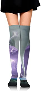 Hateone Long Socks Artistic Tornado with Lightning Knee-High Tube Thigh-High Sock Stockings for Girls & Womens