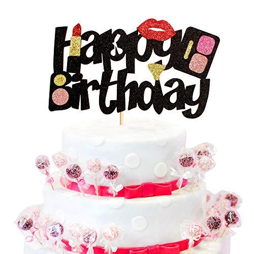 1 Pack Makeup Cake Topper Alles Gute zum Geburtstag Kuchen Dekorationen Make-up Kuchen Dekorationen für Mädchen Frauen weibliche Make-up Spa Themen Geburtstag Brautparty Bachelorette Party Dekoration