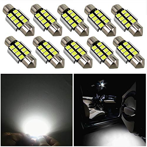 578 212-2 Pack of 10 6413 211-2 560 569 212 TUINCYN Extremely Bright 1.72 42MM 41MM Canbus Error Free Festoon LED Bulb 6000K Xenon White 5630-12SMD 211 214-2 6429 Car Interior Door Map Dome LED Lights 12V