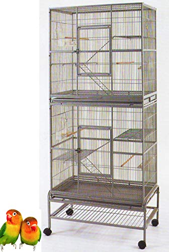 """Mcage Large Double Stacker Wrought Iron Cage Bird Flight Parrot Breeding Cage for Cockatiel Conure Canary Aviary Finches Budgies, 32"""" Length x 19"""" Depth x 74"""" Height with Rolling Stand"""