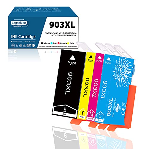 LogasMart 903XL Multipack für HP 903XL Druckerpatronen Kompatibel mit HP Officejet Pro 6970 HP Officejet 6950 HP Officejet Pro 6760 Drucker, Schwarz, Cyan, Magenta, Gelb, 4er-Pack