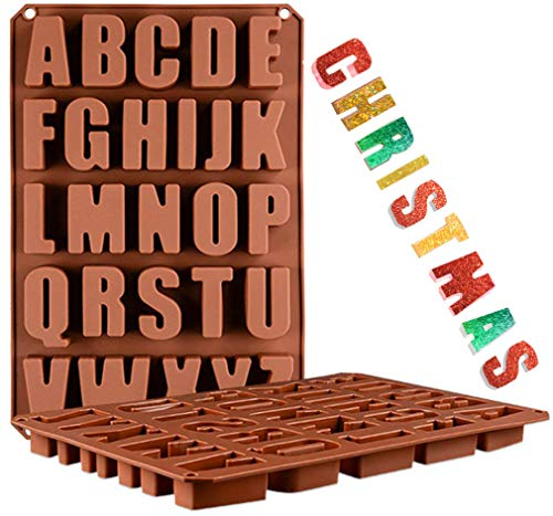 Wocuz 26 Cavities A-Z large letters reverse Alphabet Chocolate Silicone Cake Baking Mold Cake Pan Muffin Cups Handmade Soap Moulds Biscuit Ice Cube Tray DIY crayon Drops Mold for Christmas