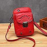 fdhdfh Bolsos de Hombro pequeños de Cuero para Mujer Monedero para teléfono Lady Mini Messenger Crossbody Bolsos 13Cmx3Cmx19Cm Rojo