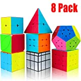 Speed Cube Set, Aitey 8 Pack Magic Cube Bundle- 2x2 3x3 4x4 Stickerless Cube Puzzle Collection for Kids & Adults