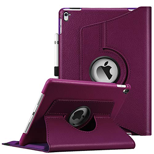 Fintie Case for iPad Pro 9.7-360 Degree Rotating Stand Protective Cover with Smart Stand Cover Auto Sleep/Wake Feature for iPad Pro 9.7 Inch (2016 Version), Purple