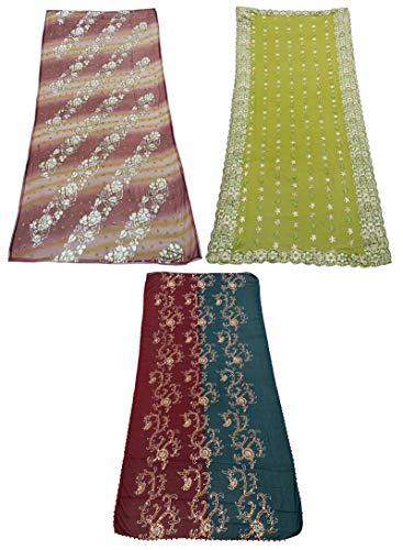 PEEGLI Paquete De 3 Piezas De Tela Vintage Dupatta Bordada India Georgette Blend Stole Hijab Tradicional Multicolor Étnico para Mujer