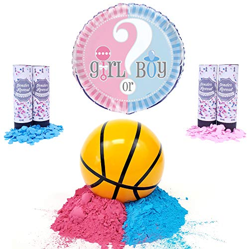 Gender Reveal Basketball Kit | Pink and Blue Powder Kit | Pink and Blue Confetti | Plus Balloon