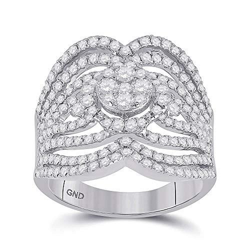Diamond2Deal - Anillo de oro blanco de 14 quilates para mujer con diamantes redondos de 1 a 3/4 quilates
