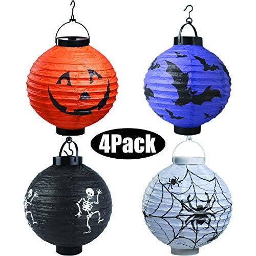 Bimkole 4er Pack Halloween Dekorationen Papierlaterne mit Spinnenschädel Skelett Fledermaus Kürbis Smiley für Hausgarten Outdoor Yard Hanging Party Decors Zubehör 20cm