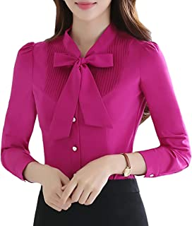 JHVYF Women's Bow Tie Neck Slim Fit Blouse Button Down Shirts Long Sleeve Tops