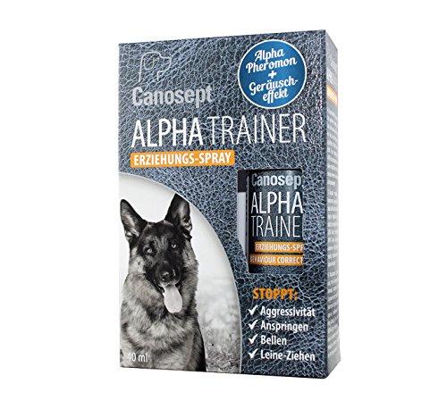 Canosept Alpha Trainer Erziehungs-Spray für Hunde 40ml - Natürliches Dominanz-Pheromon - Stoppt effektiv unerwünschte Verhaltensweisen bei Hunden wie Aggressivität, Anspringen, Bellen & Leine-Ziehen