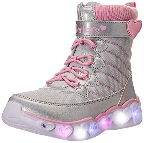 Skechers Kids Girl's Heart Lights 20287L (Little Kid/Big Kid) Gray/Pink 1 Little Kid