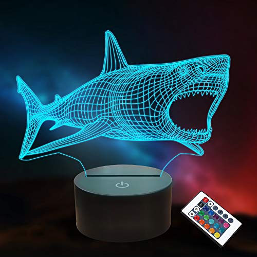 Shark 3D Illusion Night Light Ocean Animal Lámpara de mesa de escritorio, 16 colores Control remoto LED Nightlight para niños Regalos de vacaciones