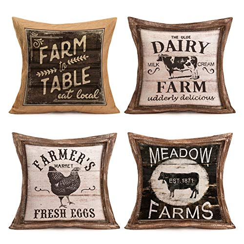Pillow Covers Rustic Wood Grain with Animal Farm Rooster Bull Cow Cotton Linen Vintage Farmhouse Animal and Words Throw Pillow Case Cushion Cover 18' X 18' Set of 4 Pillowslip (Farm Animal Quote)