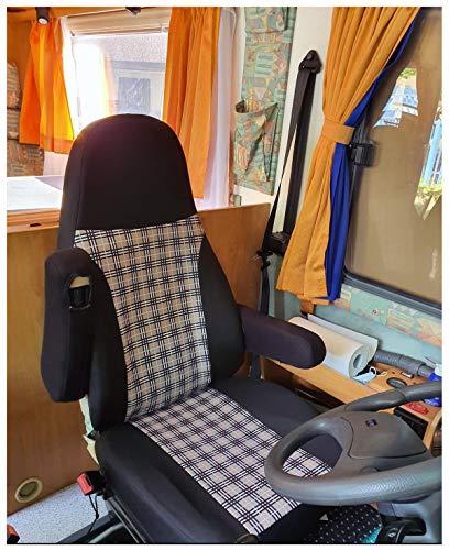 Maß Sitzbezüge kompatibel mit Wohnmobil Fahrer & Beifahrer Farbnummer: 809 (schwar beige)