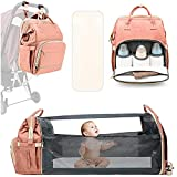 Diaper Bag Backpack, 3 in 1 Diaper Bag Backpack Travel Bassinet Portable Baby Bed, Portable Foldable Mommy Bag for Baby Girls Boys Maternity Mom (Pink)