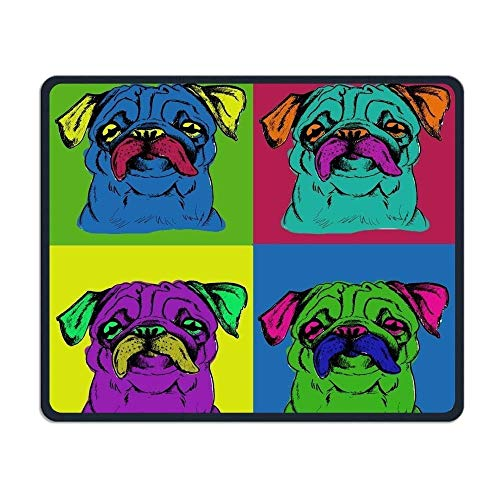 Gaming-Mauspad, Mauspads Colorful Cute Pug Rectangle Rubber Mousepad Gaming Mouse Pad 9.8x12 Inch for Notebooks,Desktop Computers
