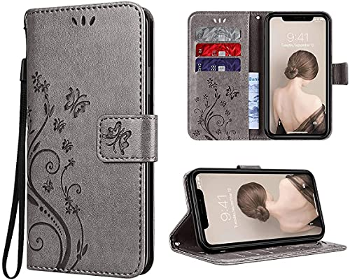 Yokata Hülle für iPhone XR Handyhülle Leder Hülle PU Wallet Hülle Flip Schmetterling Ledertasche Lederhülle Klapphülle Bumper Magnetisch Standfunktion Tasche Schutzhülle - Grau