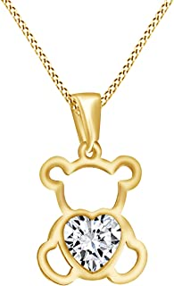 14K Gold Over Sterling Silver Cute Teddy Bear Love Heart Pendant Necklace