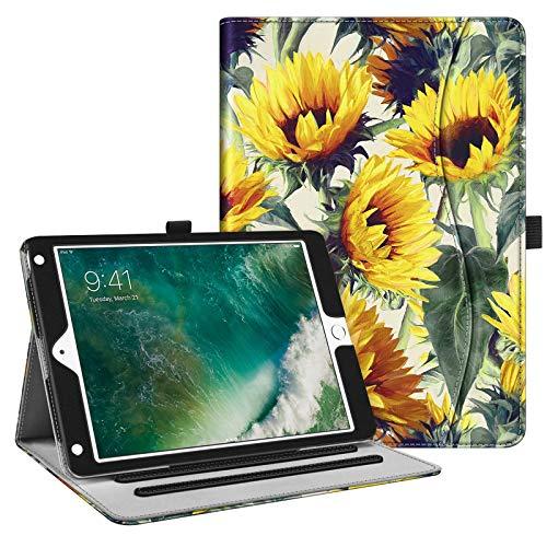 Fintie Case for iPad 9.7 2018 2017 / iPad Air 2 / iPad Air - [Corner Protection] Multi-Angle Viewing Folio Cover w/Pocket, Auto Wake/Sleep for iPad 6th / 5th Gen, iPad Air 1/2, Sunflowers
