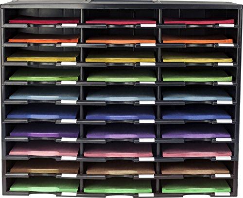 Storex 30-Compartment Literature Organizer, 31.38 x 14.13 x 25.5 Inches, Black (61419U01C)