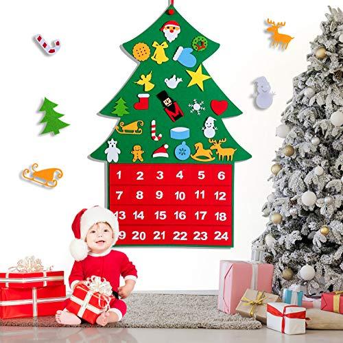 Boby Advent Calendar 2020 for Kids, DIY 24 Days Felt Christmas Tree Countdown Calendar,Christmas Tree Ornaments for Home Door Wall Hanging Decor