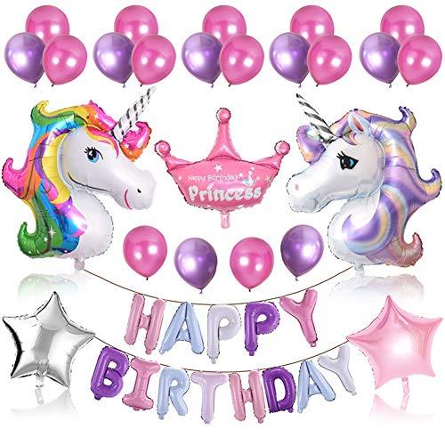 Sunshine smile Einhornballon, Einhorn Geburtstag Deko, Kindergeburtstag Dekoration, Happy Birthday Banner, Happy Birthday Luftballons, Konfetti Luftballons, Party Deko, Geburtstag Deko Junge(Einhorn)